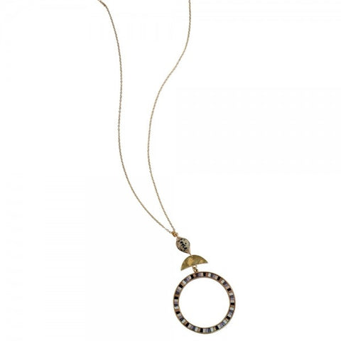 Multi Inlay Gold Circle Necklace