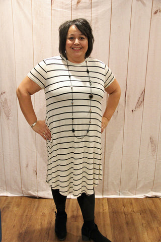 High Neck Striped Tee Dress