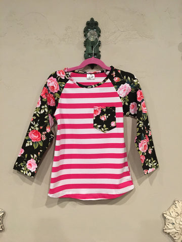 Kids Long Sleeve Floral Baseball Shirt