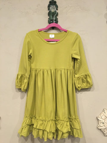 Kids Long Sleeve Ruffle Dress