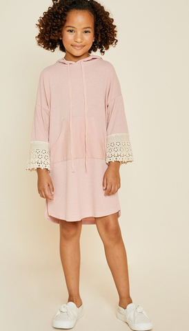 Girls Hooded Lace Pullover Dress