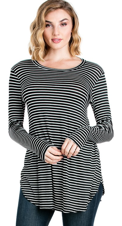 Striped Flare Bottom Tunic