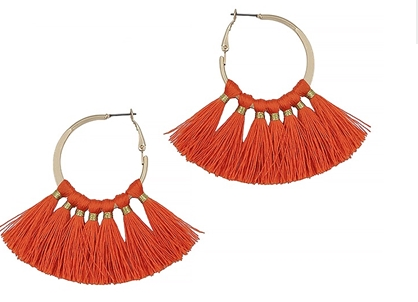Gold Hoop with Tassel Earrings