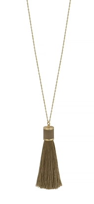 Light Brown Leather Tassel Necklace