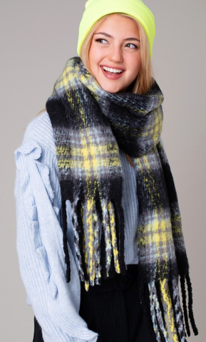 Lime Plaid Scarf
