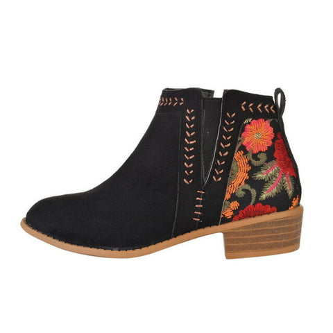 Chelsea Embroidered Ankle Booties