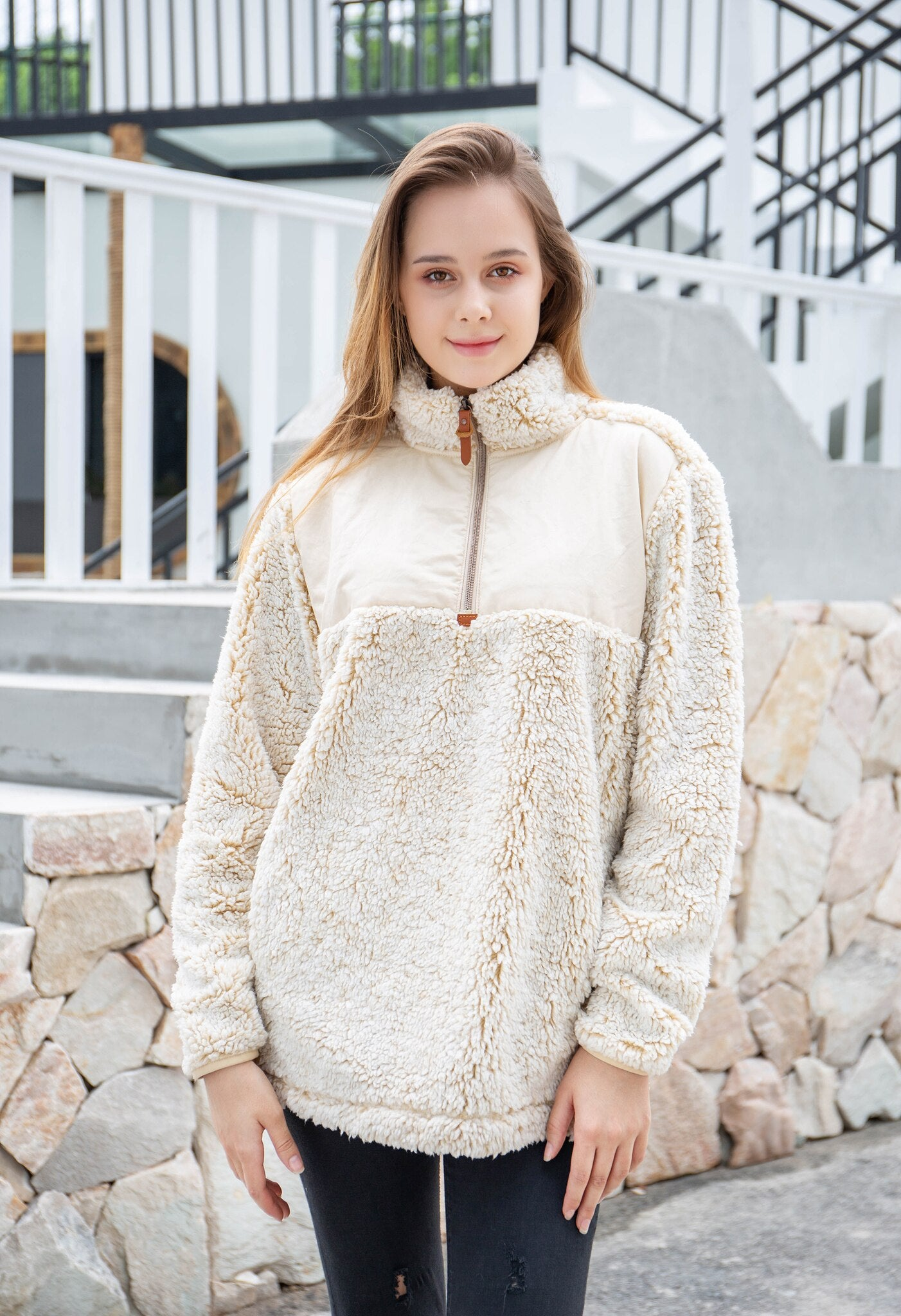 Two-Tone Sherpa Pullover