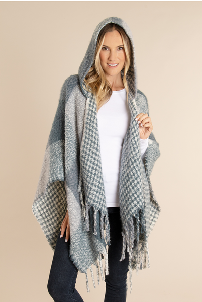 Houndstooth Hooded Wrap