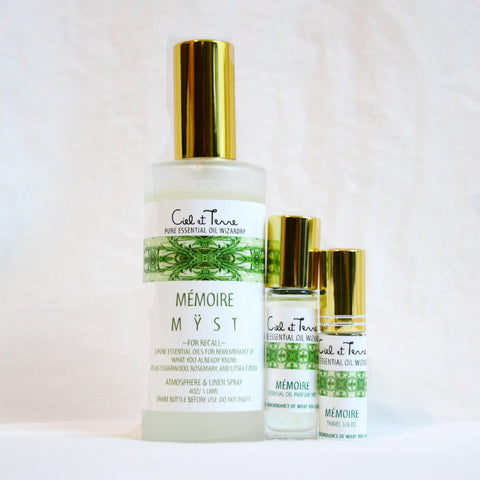 MEMOIRE Combination Kit - 4 oz. MYST, 9 ml PARFUM, travel MYST.