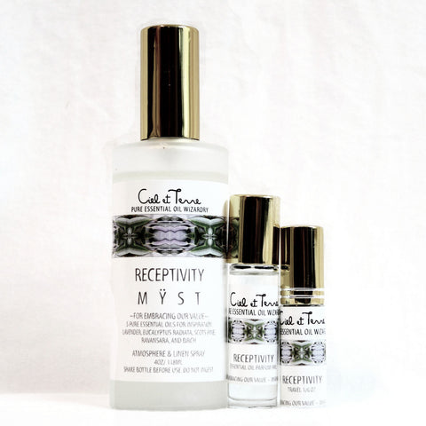 RECEPTIVITY Combination Kit - 4 oz. MYST, 9 ml PARFUM, travel MYST.