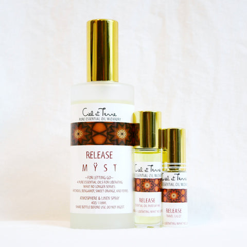 RELEASE Combination Kit - 4 oz. MYST, 9 ml PARFUM, travel MYST.