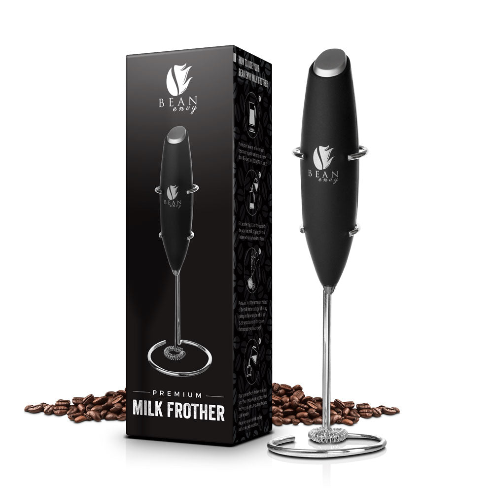 Bean Envy Premium Electric Handheld Milk Frother, Includes Stainless Steel Stand