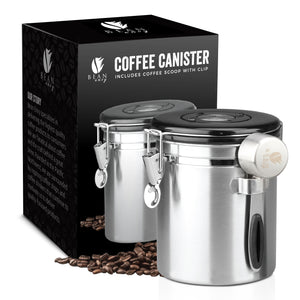 Bean Envy High Quality Stainless Steel Coffee Canister 16 oz., Includes Clip With Spoon