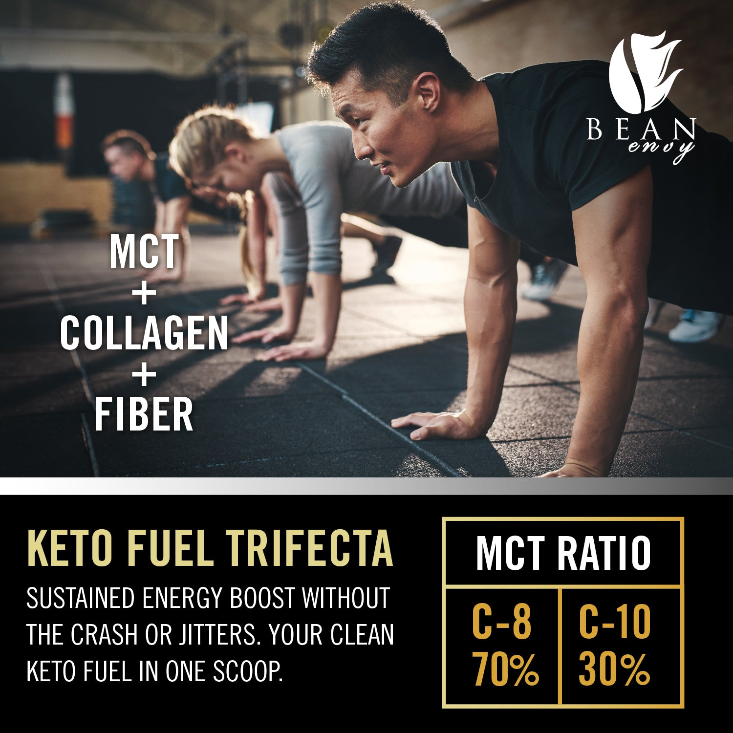 Bean Envy's MCT Oil Powder + Collagen + Prebiotic Acacia Fiber - 100% Pure MCT's - KETO Friendly - Energy Boost - Appetite Control - Healthy Gut Support