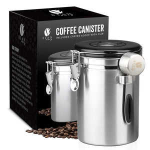 Load image into Gallery viewer, Bean Envy Airtight Coffee Canister - LARGE 22.5 oz - Includes Stainless Steel Scoop & Integrated Silicone Base - Sealed Cantilever Lid - Co2 Gas Release Wicovalve™ & Numerical Day/Month Tracker
