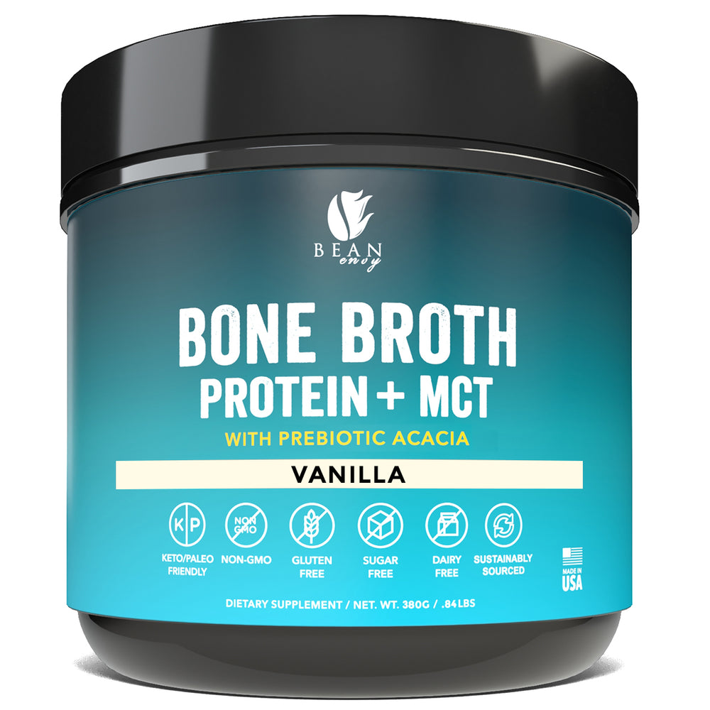 Bean Envy Bone Broth Protein powder + MCT Oil + Prebiotic Acacia fiber for Joint Protection, Better Digestion, Energy Boost, Weight Loss, and Sleep