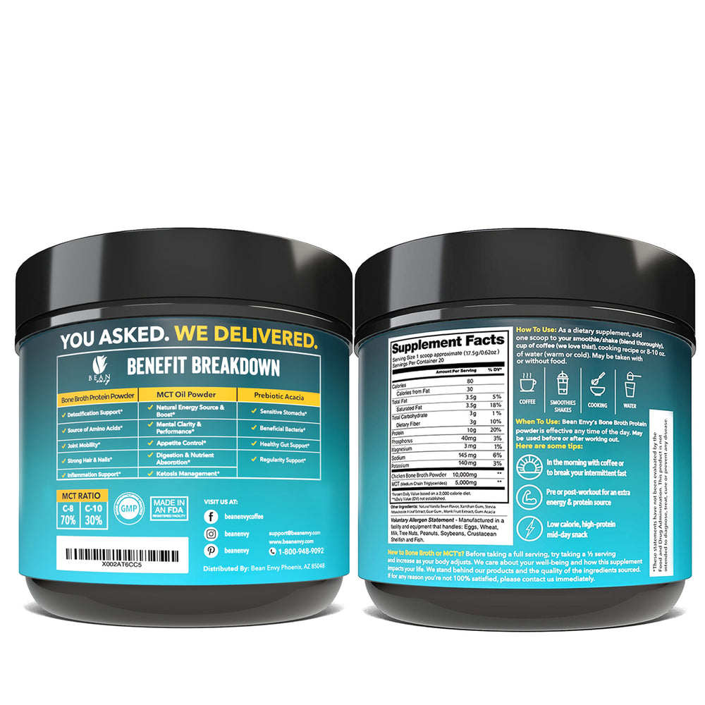 Load image into Gallery viewer, Bean Envy Bone Broth Protein powder + MCT Oil + Prebiotic Acacia fiber for Joint Protection, Better Digestion, Energy Boost, Weight Loss, and Sleep