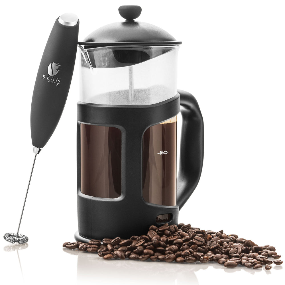 Bean Envy 34 oz French Press & Tea Make, Includes Electric Handheld Premium Milk Frother