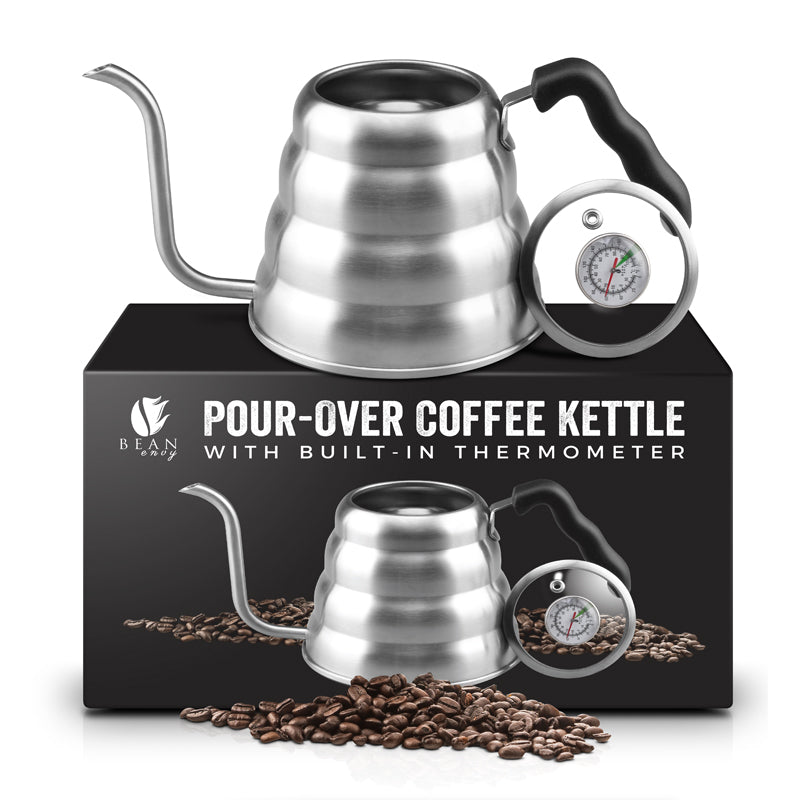 Bean Envy Premium Quality Pour-Over Coffee Kettle 1.2L, Double Stainless Steel Bottom, Includes Thermometer