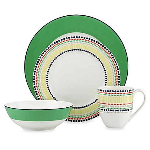 Kate Spade New York Hopscotch Drive Green 4-Piece Dishware Place Setting