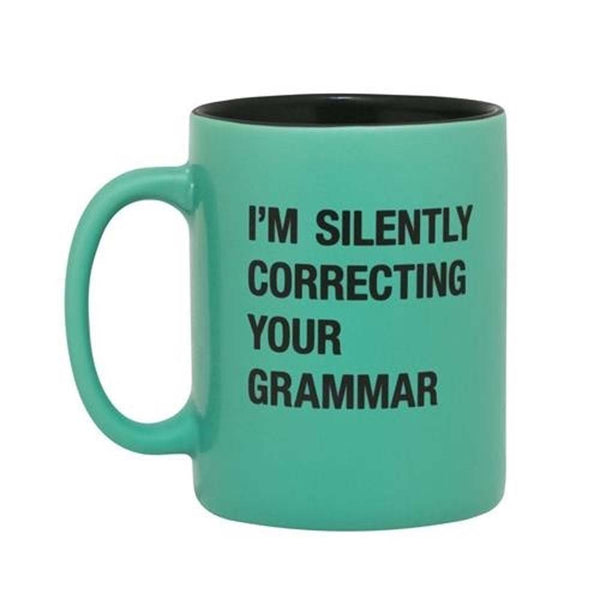 About Face Designs Coffee Mug (Green) - Silently Correcting Your Grammar Ceramic