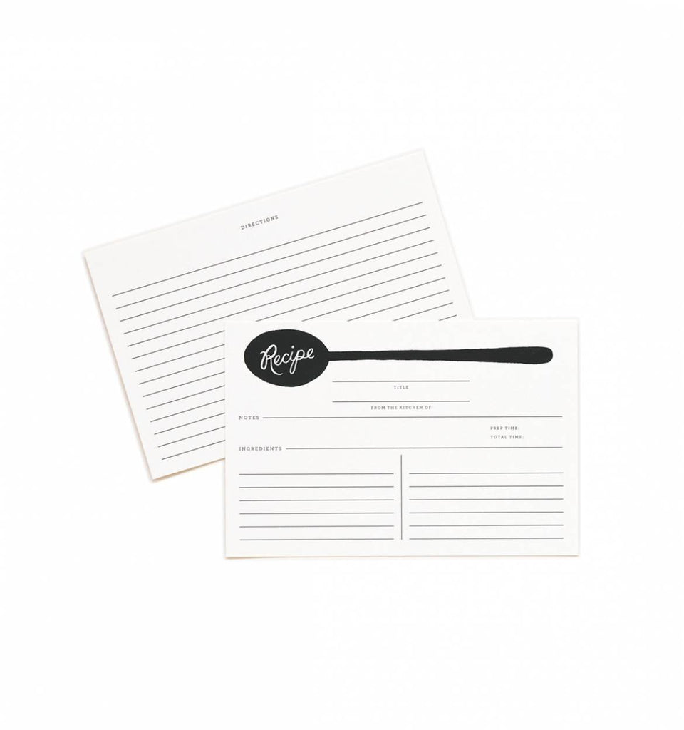 Rifle Paper Co. Recipe Cards Pack of 24 - Charcoal Spoon
