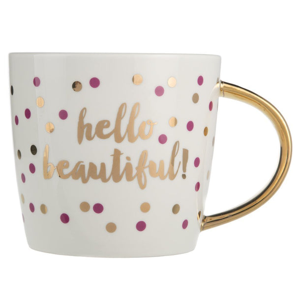 Slant Collection 14 Oz Ceramic Coffee Mug - Hello Beautiful Polka Dots Gold Foil