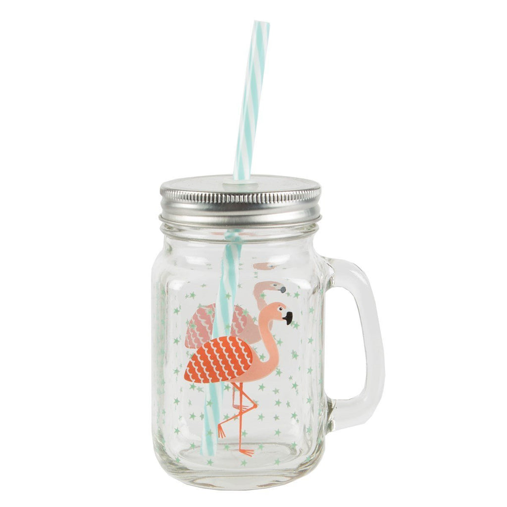 Sass & Belle Tropical Flamingo Mason Jar Mug with Lid and Straw
