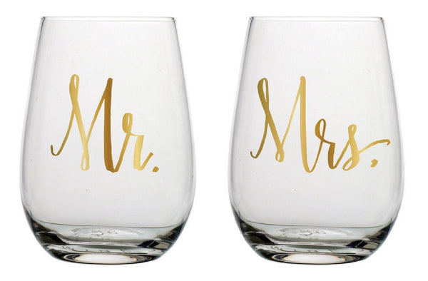 Slant Collections Mr and Mrs Stemless Wine Glass