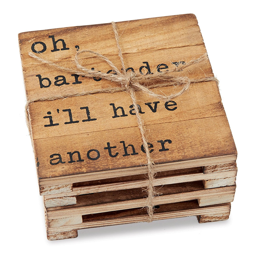 Mud Pie Reserve Planked Pine Wood Coaster (Set of 4)