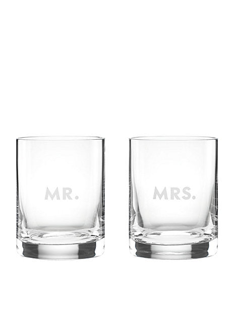 Kate Spade New York Darling Point Whiskey Glass Mr & Mrs