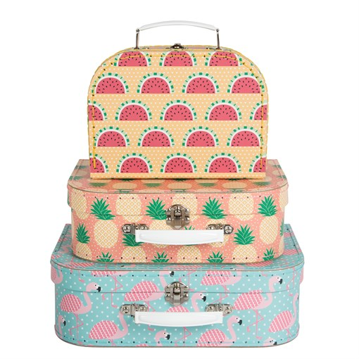 Sass & Belle Suitcases/Nesting Box Storage, Set of 3 (Tropical Summer)