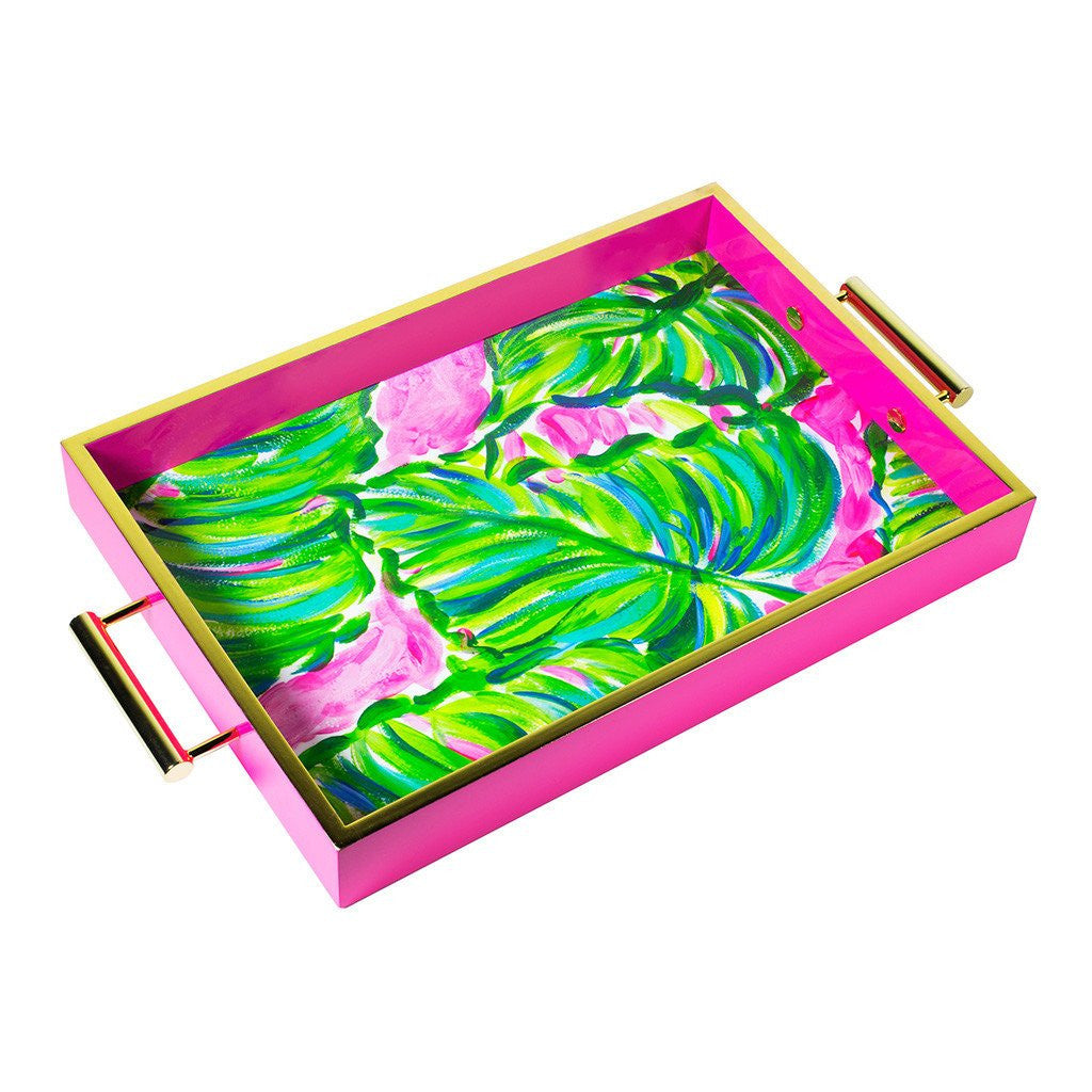 Lilly Pulitzer Hostess Tray, Painted Palm