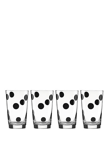 Kate Spade New York All Purpose Beverage Set of 4 Deco Dot