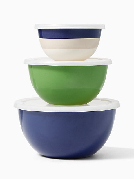 Kate Spade New York Set of 3 Serve and Store Bowls Green and Blue