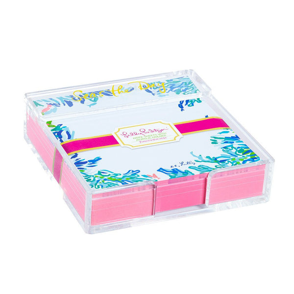 Lilly Pulitzer Acrylic Holder and Loose Notes Wade and Sea