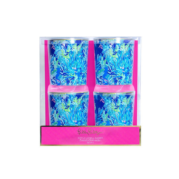 Lilly Pulitzer Acrylic Lo-Ball Glass Set