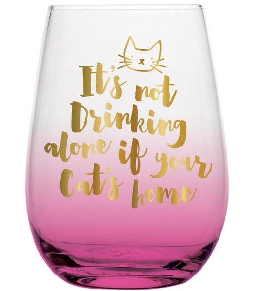 Slant Collections 18 oz Stemless Wine Glass: Not Drinking Alone