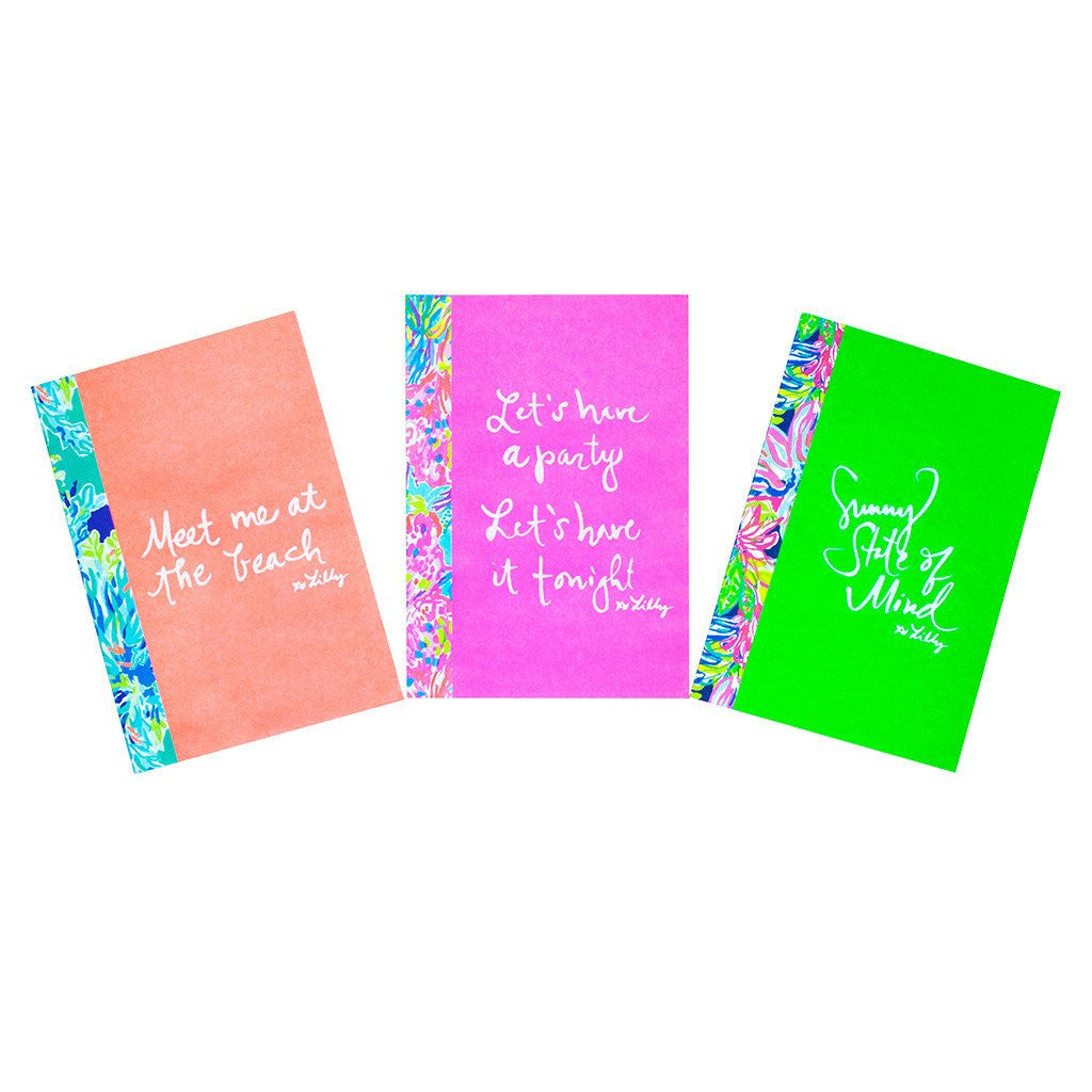 Lilly Pulitzer subject notebooks set of 3 neon
