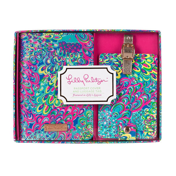 Lilly Pulitzer Luggage Tag and Passport Holder Lilly's Lagoon