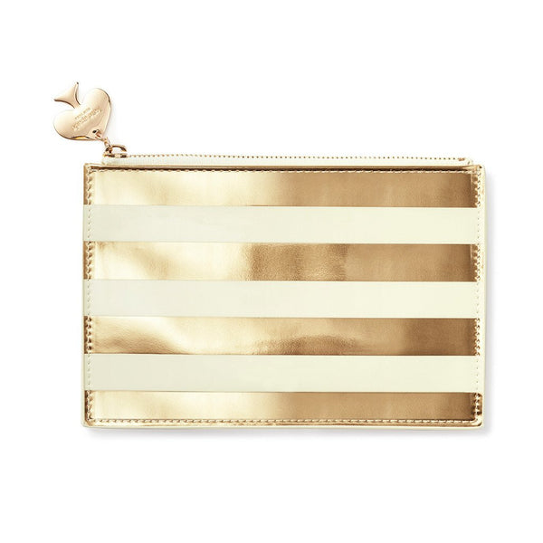 Kate Spade New York Pencil Pouch gold stripe