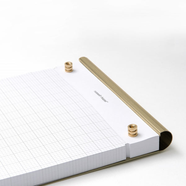 Russell + Hazel grid paper graph paper drafters notepad gold perforated write note grocery