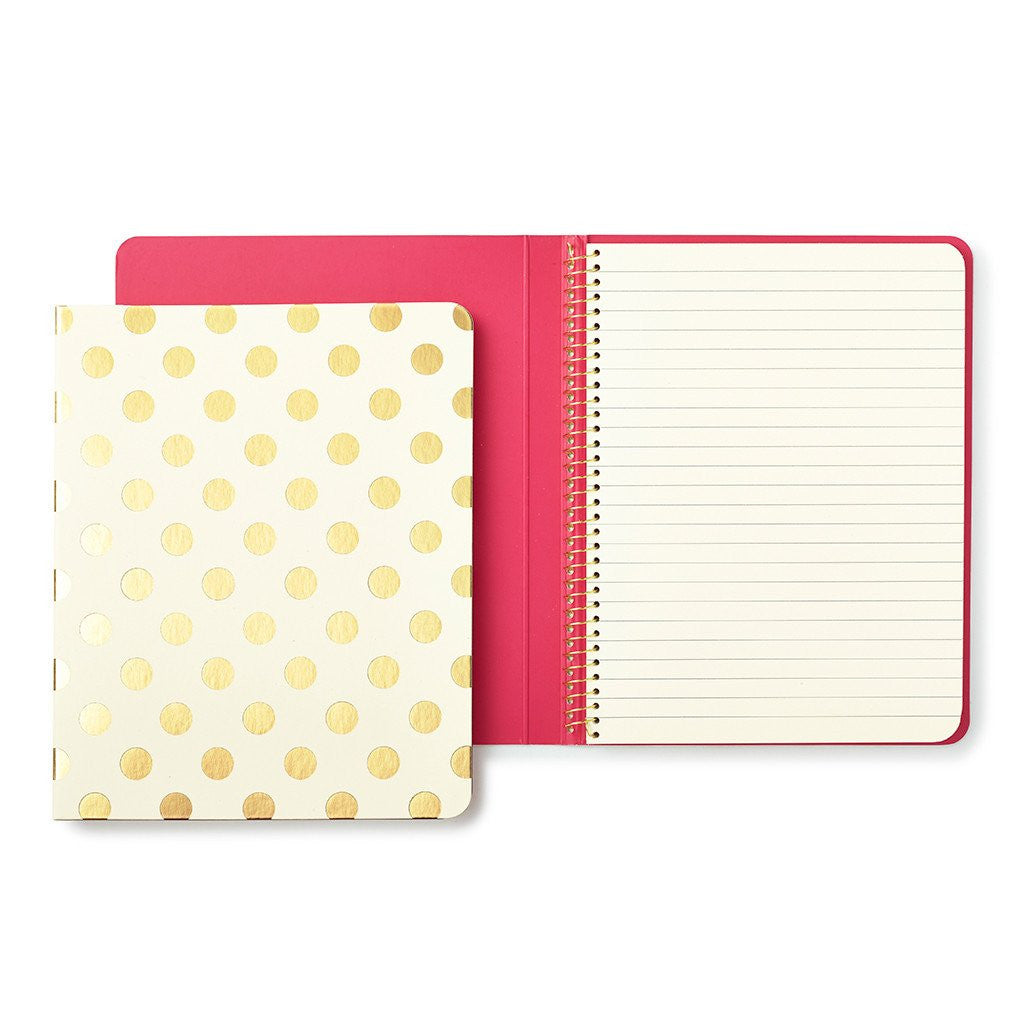 Kate Spade New York Conceal Spiral Notebook gold dot