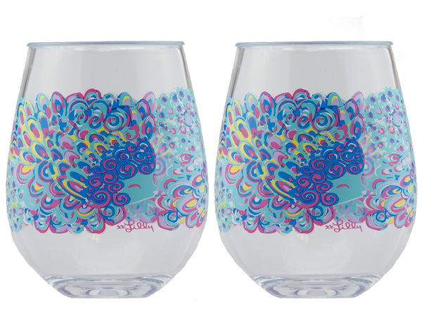 Lilly Pulitzer Acrylic Stemless Wine Glasses Lilly Lagoon