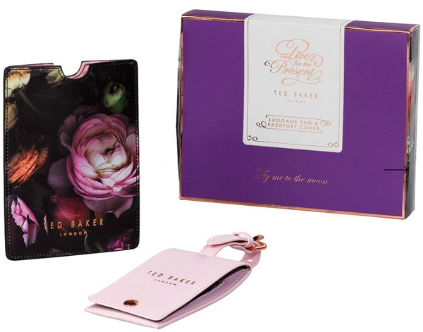 Ted Baker luggage tag passport holder shadow flora jet set go