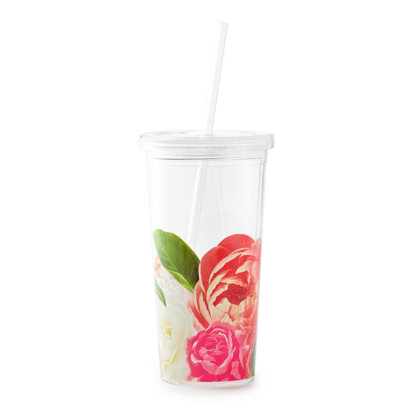 Kate Spade New York Tumbler With Straw floral