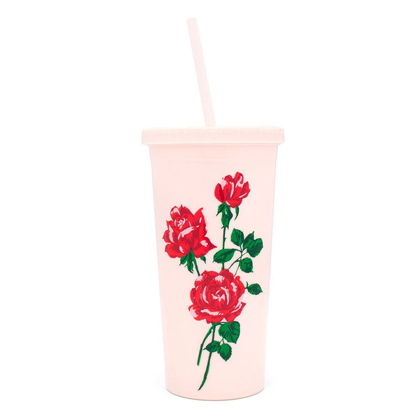 Ban.do Sip Sip Tumbler With Straw - Will You Accept This Rose?