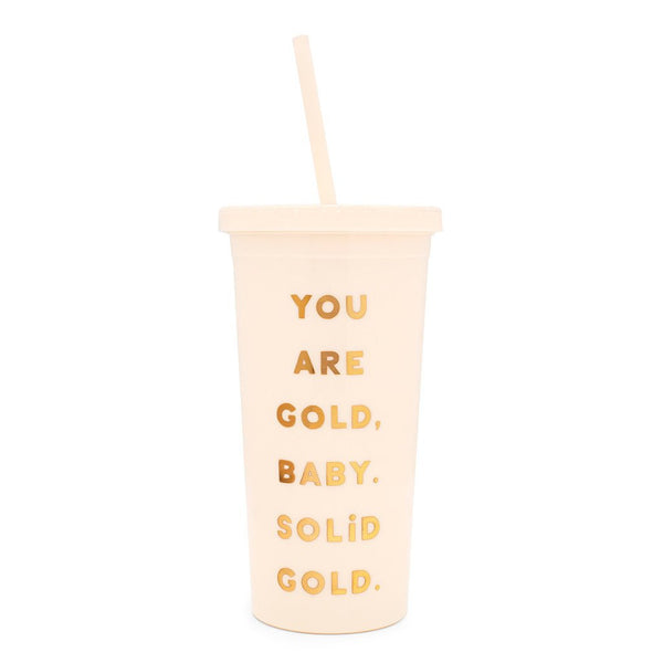 Ban.do Sip Sip Tumbler With Straw - You Are Gold