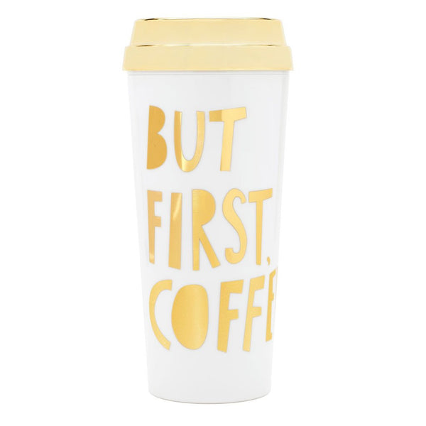 Ban.do Hot Stuff Thermal Mug But First Coffee - Gold