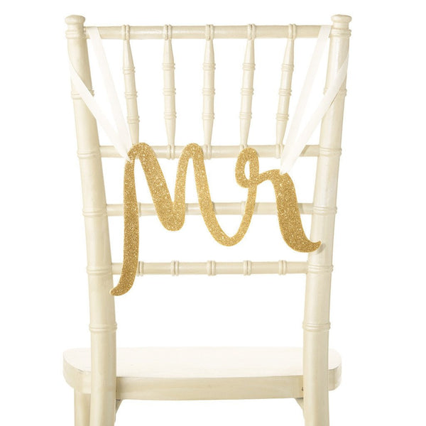 kate spade new york Bridal Chair Signs - Mr & Mrs - Gold